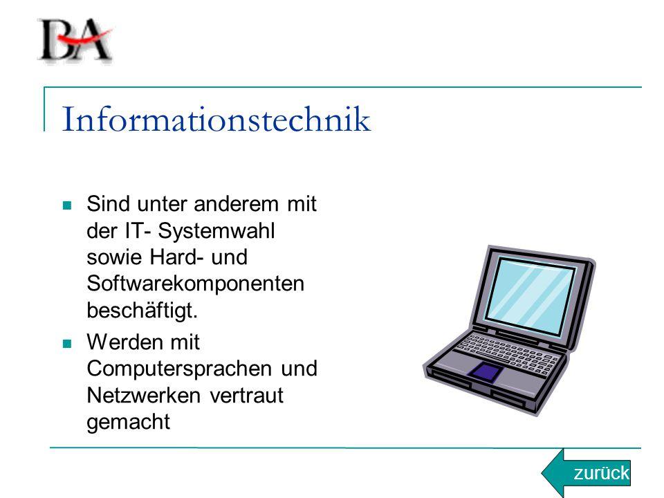 Informationstechnik Sind unter anderem mit der IT- Systemwahl sowie Hard- und Softwarekomponenten beschäftigt. Werden mit Computersprachen und Netzwer