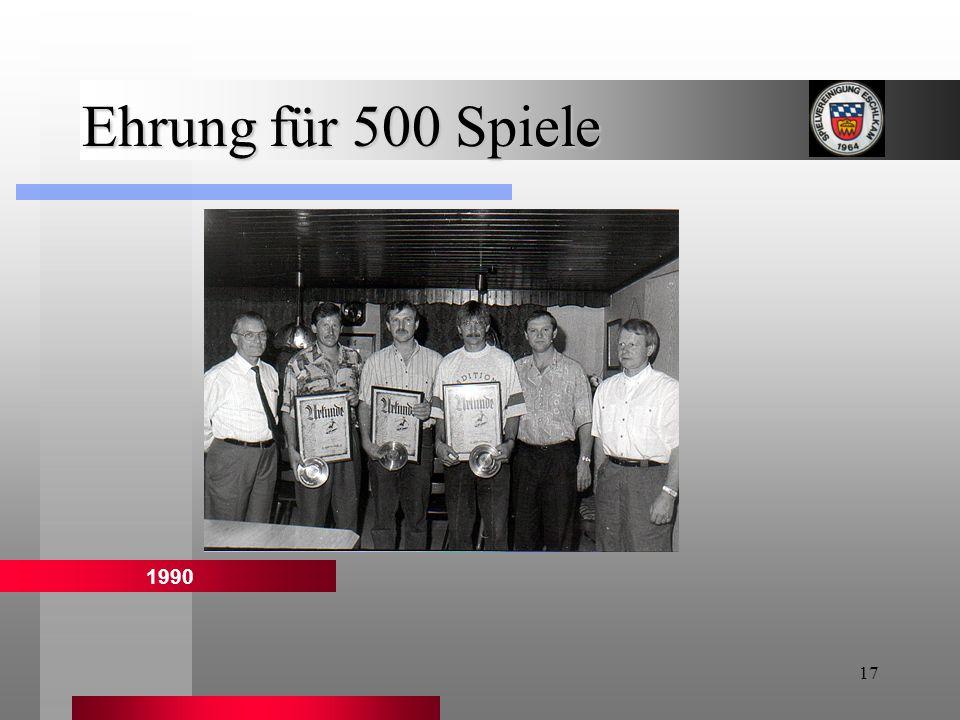17 Ehrung für 500 Spiele 1990