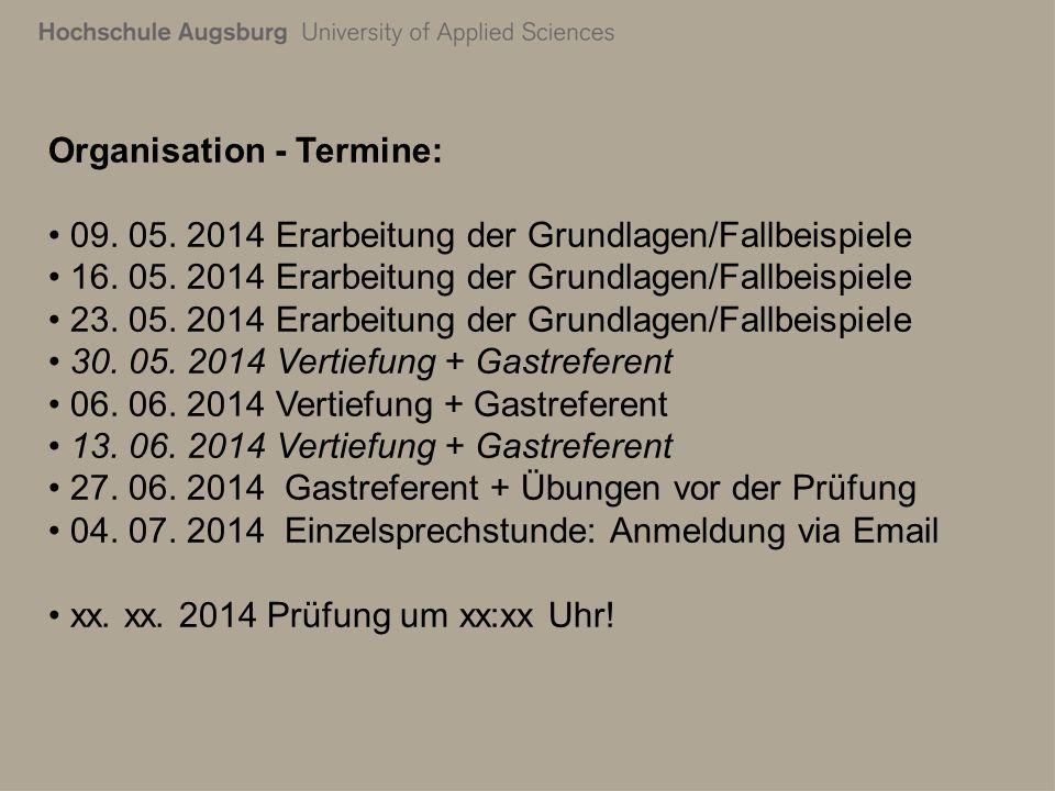 Organisation - Termine: 09. 05. 2014 Erarbeitung der Grundlagen/Fallbeispiele 16. 05. 2014 Erarbeitung der Grundlagen/Fallbeispiele 23. 05. 2014 Erarb