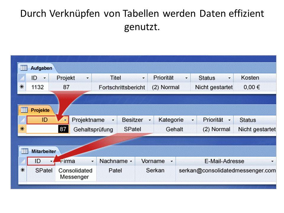 Access zeichnet sich dadurch aus, dass mit verknüpften Tabellen gearbeitet wird, sodass eine Tabelle mit in einer anderen Tabelle enthaltenen Daten arbeiten kann.