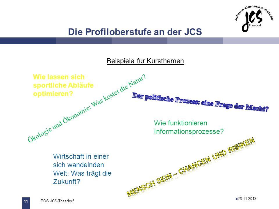 11 POS JCS-Thesdorf29.11.2011 Die Profiloberstufe an der JCS Beispiele für Kursthemen Ökologie und Ökonomie: Was kostet die Natur? Wie funktionieren I