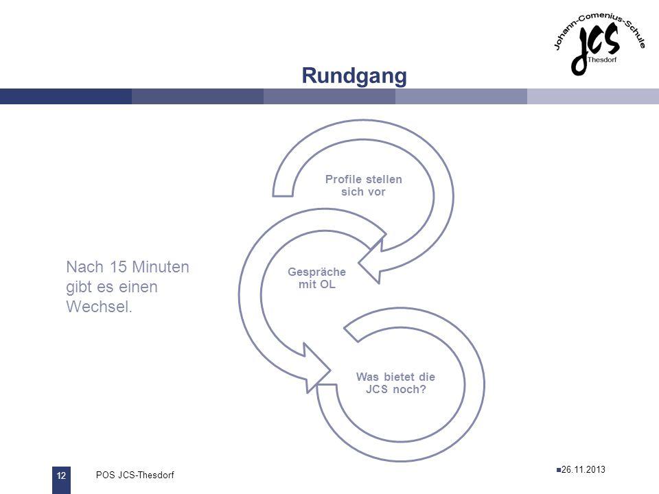 12 POS JCS-Thesdorf29.11.2011 Rundgang Profile stellen sich vor Gespräche mit OL Was bietet die JCS noch? Nach 15 Minuten gibt es einen Wechsel. 26.11