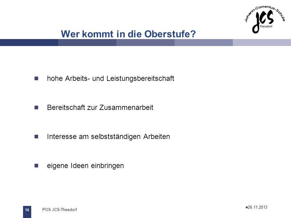 14 POS JCS-Thesdorf29.11.2011 Wer kommt in die Oberstufe? hohe Arbeits- und Leistungsbereitschaft Bereitschaft zur Zusammenarbeit Interesse am selbsts
