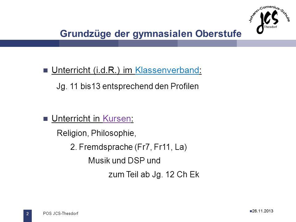 2 POS JCS-Thesdorf29.11.2011 Grundzüge der gymnasialen Oberstufe 27.11.2012 Unterricht (i.d.R.) im Klassenverband: Jg. 11 bis13 entsprechend den Profi