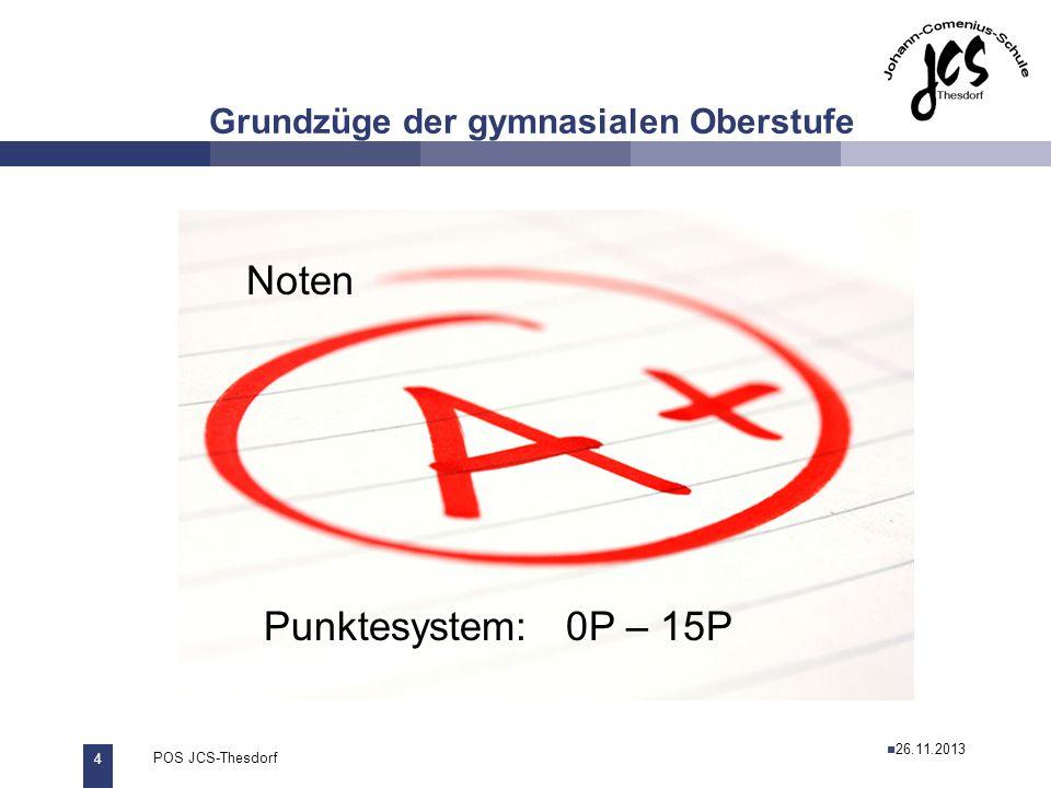 4 POS JCS-Thesdorf29.11.2011 Grundzüge der gymnasialen Oberstufe Noten Punktesystem: 0P – 15P 26.11.2013