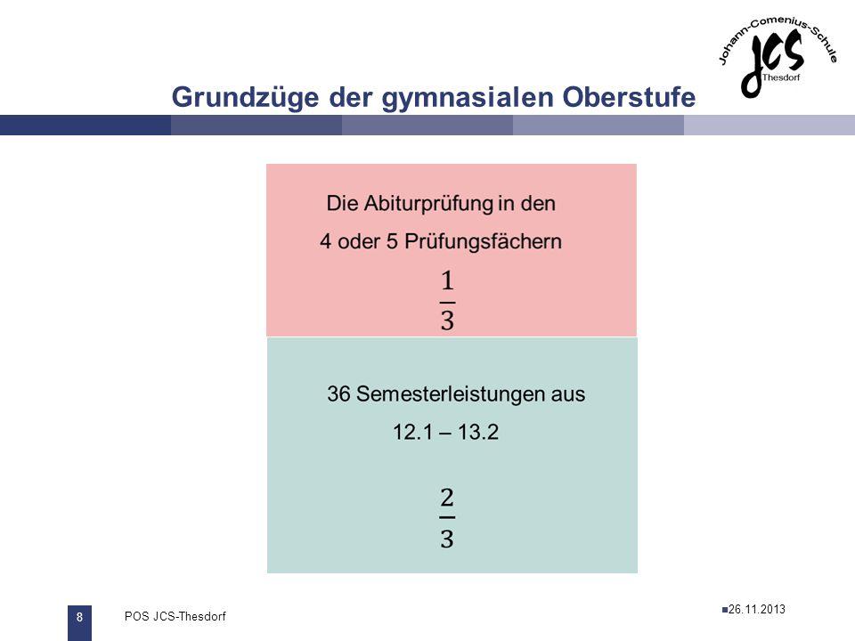 8 POS JCS-Thesdorf29.11.2011 Grundzüge der gymnasialen Oberstufe 26.11.2013