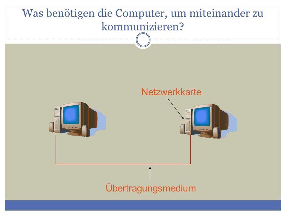Netzwerkkarte Übertragungsmedium Was benötigen die Computer, um miteinander zu kommunizieren?