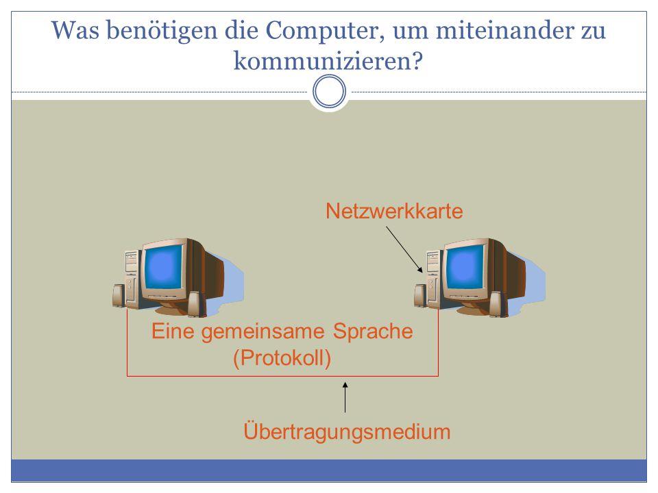 Netzwerkkarte Übertragungsmedium Eine gemeinsame Sprache (Protokoll) Was benötigen die Computer, um miteinander zu kommunizieren?
