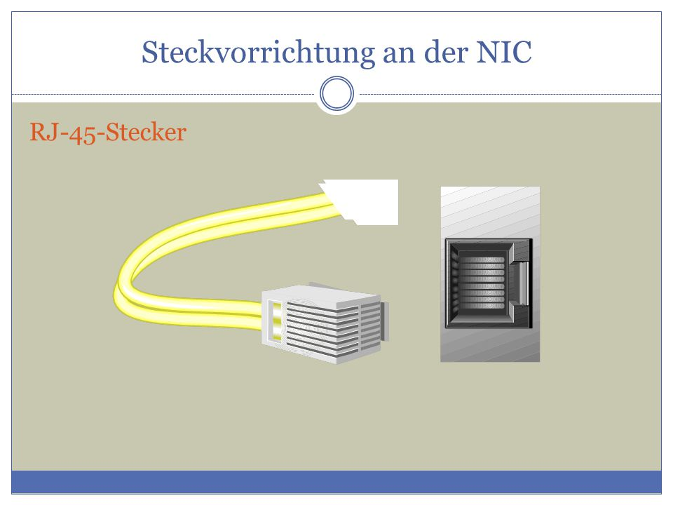 Steckvorrichtung an der NIC RJ-45-Stecker