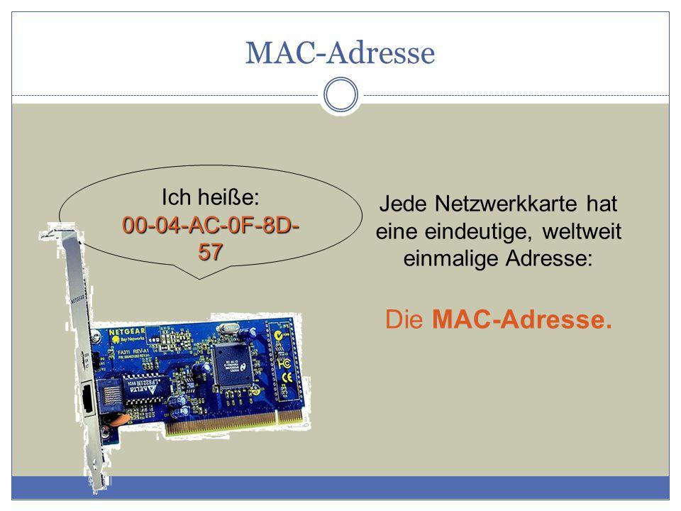 Ich heiße: 00-04-AC-0F-8D- 57 Jede Netzwerkkarte hat eine eindeutige, weltweit einmalige Adresse: Die MAC-Adresse.