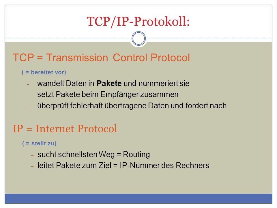 TCP/IP-Protokoll: IP = Internet Protocol ( = stellt zu)  sucht schnellsten Weg = Routing  leitet Pakete zum Ziel = IP-Nummer des Rechners TCP = Transmission Control Protocol ( = bereitet vor)  wandelt Daten in Pakete und nummeriert sie  setzt Pakete beim Empfänger zusammen  überprüft fehlerhaft übertragene Daten und fordert nach