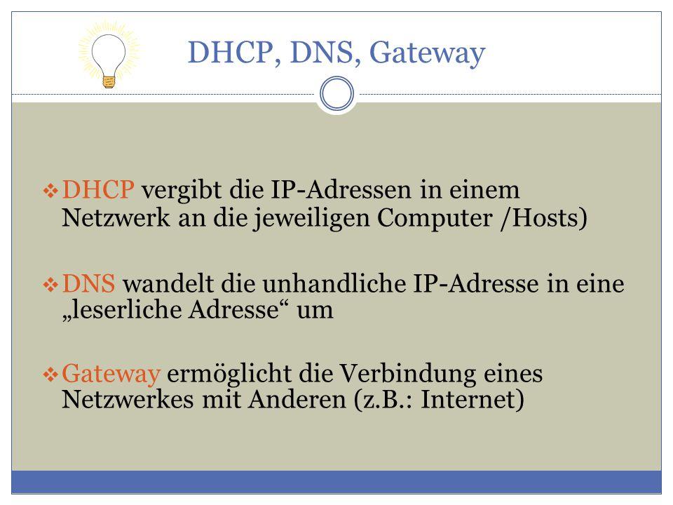 """DHCP, DNS, Gateway  DHCP vergibt die IP-Adressen in einem Netzwerk an die jeweiligen Computer /Hosts)  DNS wandelt die unhandliche IP-Adresse in eine """"leserliche Adresse um  Gateway ermöglicht die Verbindung eines Netzwerkes mit Anderen (z.B.: Internet)"""