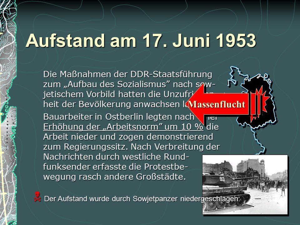 2 deutsche Staaten stehen... Folgen der Teilung... zwischen 2 Machtblöcken! DDRBRD Stationierung von Truppen Stationierung von Truppen Aufrüstung Aufr