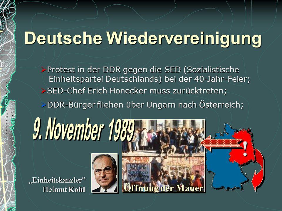 Deutsche Wiedervereinigung Für seine Verdienste um die Öffnung des Ostblocks und damit um die Wiedervereinigung Deutschlands erhielt Michail Gorbatsch