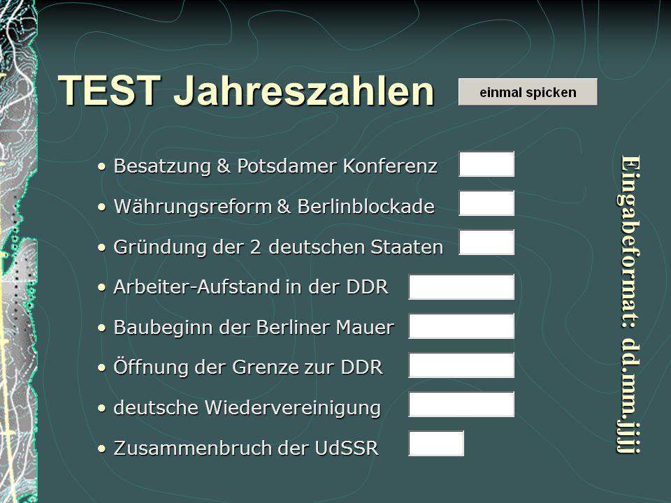 1945: Besatzungszonen – Potsdamer Konferenz; 1945: Besatzungszonen – Potsdamer Konferenz; 1948: Marshallplan  Währungsreform & Berlinblockade; 1948: