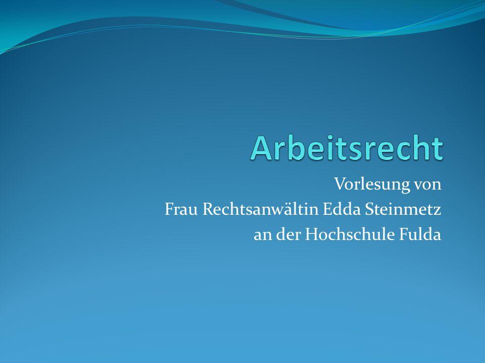 Vorlesung von Frau Rechtsanwältin Edda Steinmetz an der Hochschule Fulda