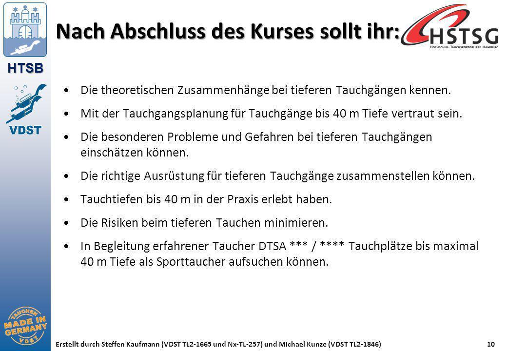 HTSB Erstellt durch Steffen Kaufmann (VDST TL2-1665 und Nx-TL-257) und Michael Kunze (VDST TL2-1846)10 Nach Abschluss des Kurses sollt ihr: Die theore