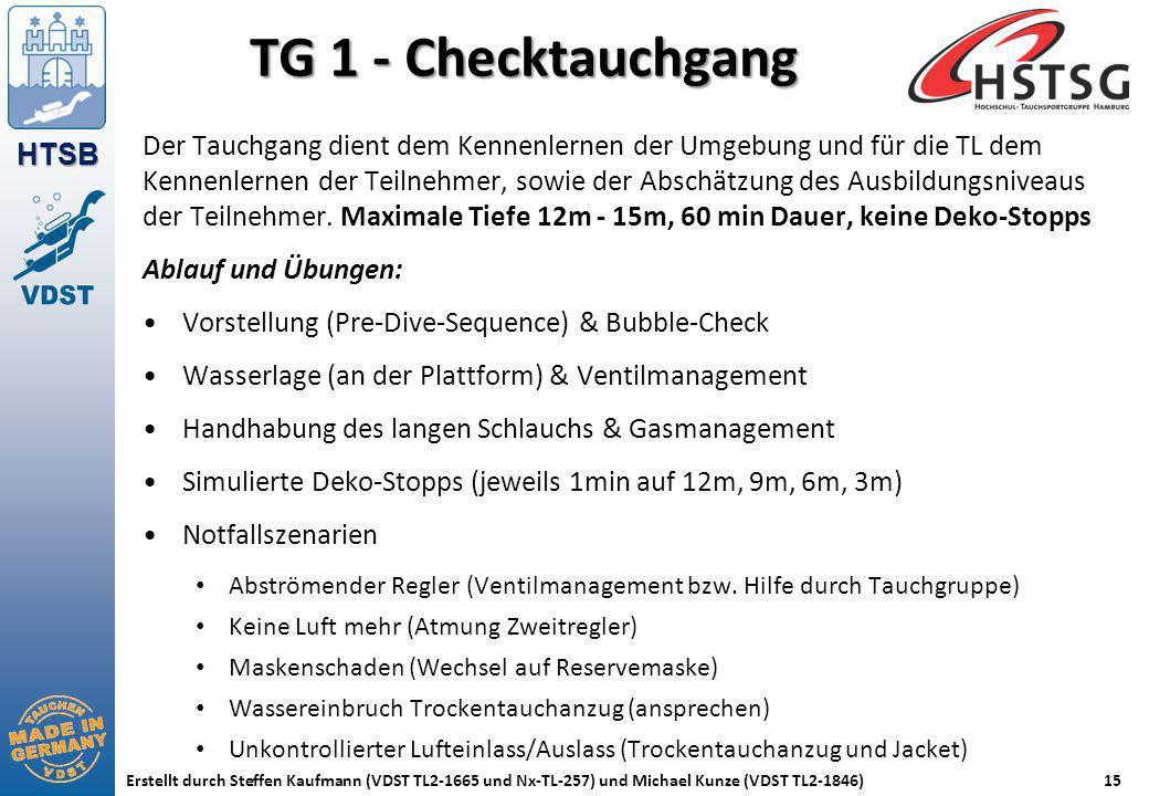 HTSB Erstellt durch Steffen Kaufmann (VDST TL2-1665 und Nx-TL-257) und Michael Kunze (VDST TL2-1846)15 TG 1 - Checktauchgang Der Tauchgang dient dem K