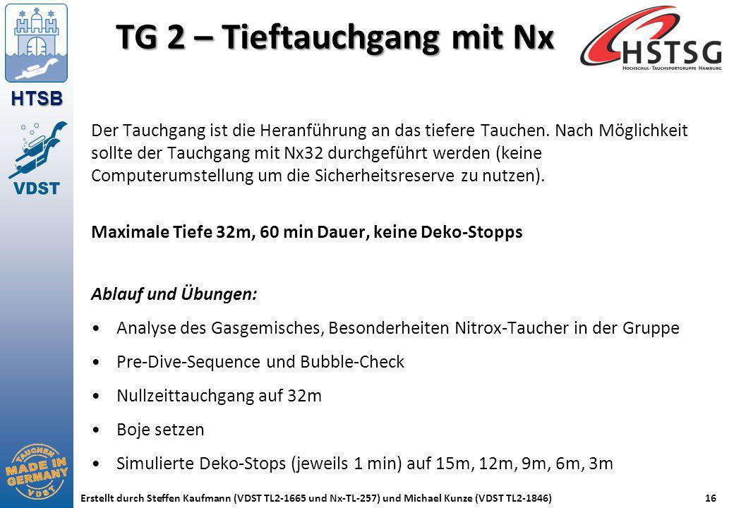 HTSB Erstellt durch Steffen Kaufmann (VDST TL2-1665 und Nx-TL-257) und Michael Kunze (VDST TL2-1846)16 TG 2 – Tieftauchgang mit Nx Der Tauchgang ist d