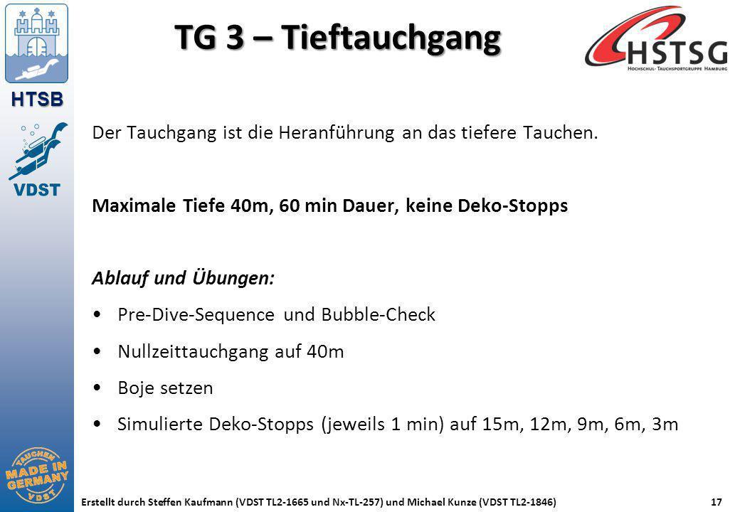 HTSB Erstellt durch Steffen Kaufmann (VDST TL2-1665 und Nx-TL-257) und Michael Kunze (VDST TL2-1846)17 TG 3 – Tieftauchgang Der Tauchgang ist die Hera