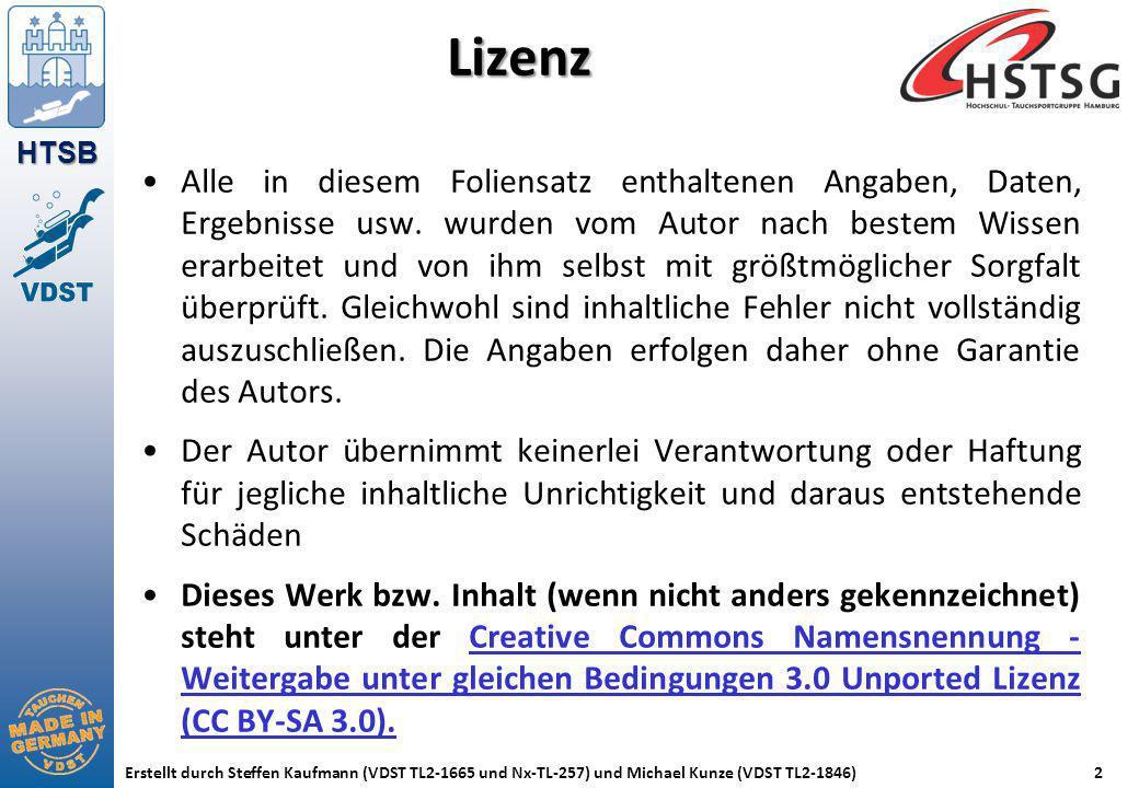HTSB Erstellt durch Steffen Kaufmann (VDST TL2-1665 und Nx-TL-257) und Michael Kunze (VDST TL2-1846)2 Lizenz Alle in diesem Foliensatz enthaltenen Ang