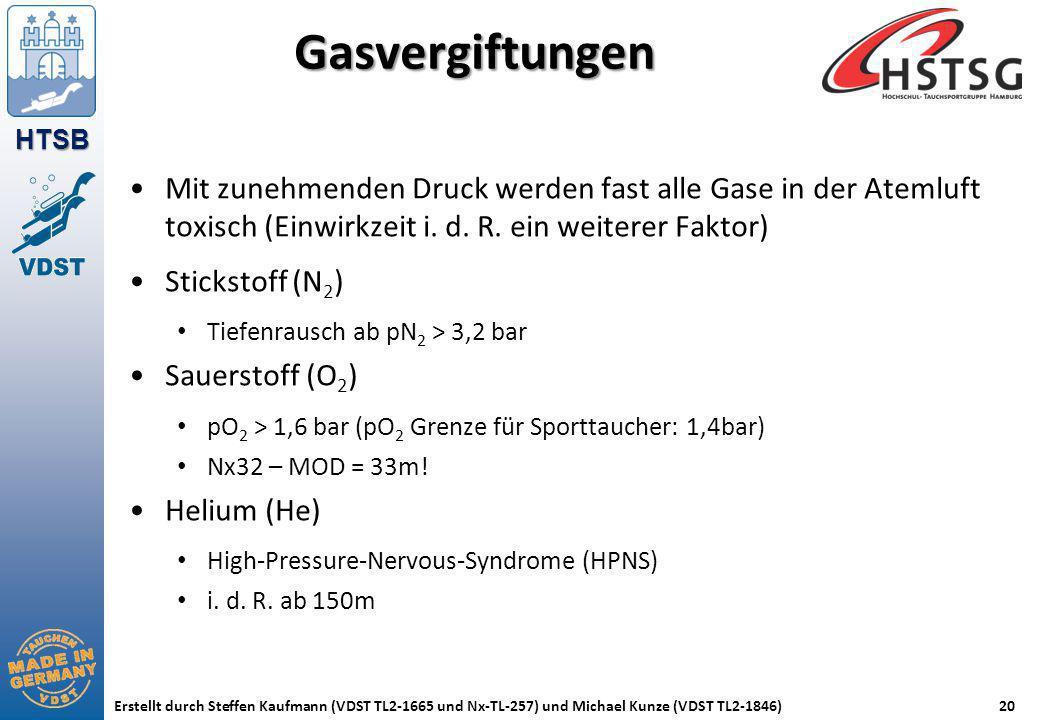 HTSB Erstellt durch Steffen Kaufmann (VDST TL2-1665 und Nx-TL-257) und Michael Kunze (VDST TL2-1846)20 Gasvergiftungen Mit zunehmenden Druck werden fa