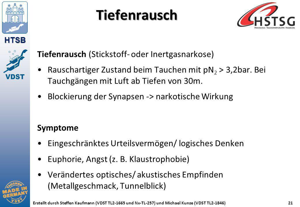 HTSB Erstellt durch Steffen Kaufmann (VDST TL2-1665 und Nx-TL-257) und Michael Kunze (VDST TL2-1846)21 Tiefenrausch Tiefenrausch (Stickstoff- oder Ine