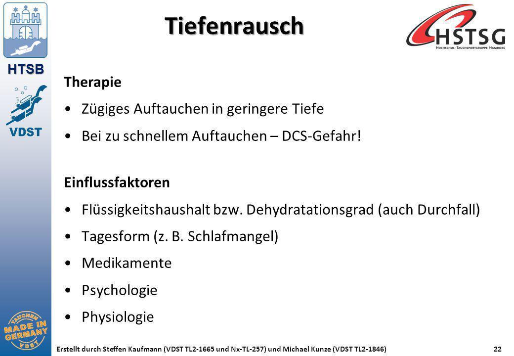 HTSB Erstellt durch Steffen Kaufmann (VDST TL2-1665 und Nx-TL-257) und Michael Kunze (VDST TL2-1846)22 Tiefenrausch Therapie Zügiges Auftauchen in ger