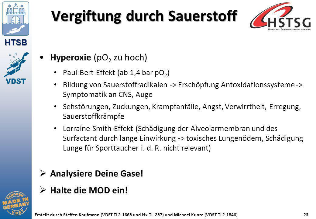 HTSB Erstellt durch Steffen Kaufmann (VDST TL2-1665 und Nx-TL-257) und Michael Kunze (VDST TL2-1846)23 Vergiftung durch Sauerstoff Hyperoxie (pO 2 zu