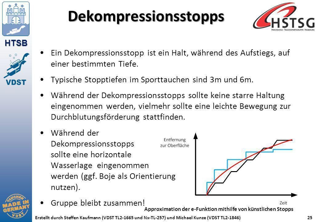 HTSB Erstellt durch Steffen Kaufmann (VDST TL2-1665 und Nx-TL-257) und Michael Kunze (VDST TL2-1846)25 Dekompressionsstopps Ein Dekompressionsstopp is
