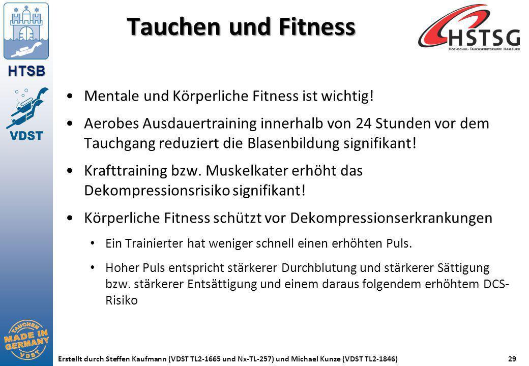 HTSB Erstellt durch Steffen Kaufmann (VDST TL2-1665 und Nx-TL-257) und Michael Kunze (VDST TL2-1846)29 Tauchen und Fitness Mentale und Körperliche Fit