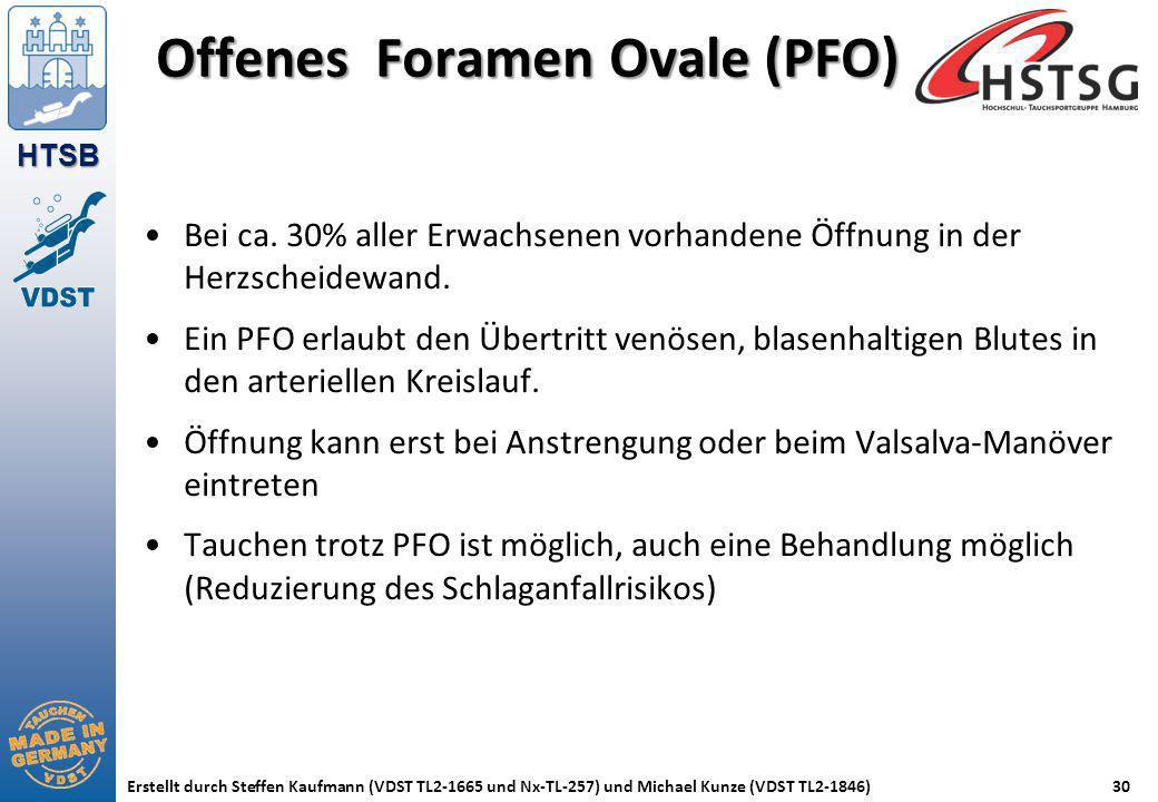 HTSB Erstellt durch Steffen Kaufmann (VDST TL2-1665 und Nx-TL-257) und Michael Kunze (VDST TL2-1846)30 Offenes Foramen Ovale (PFO) Bei ca. 30% aller E