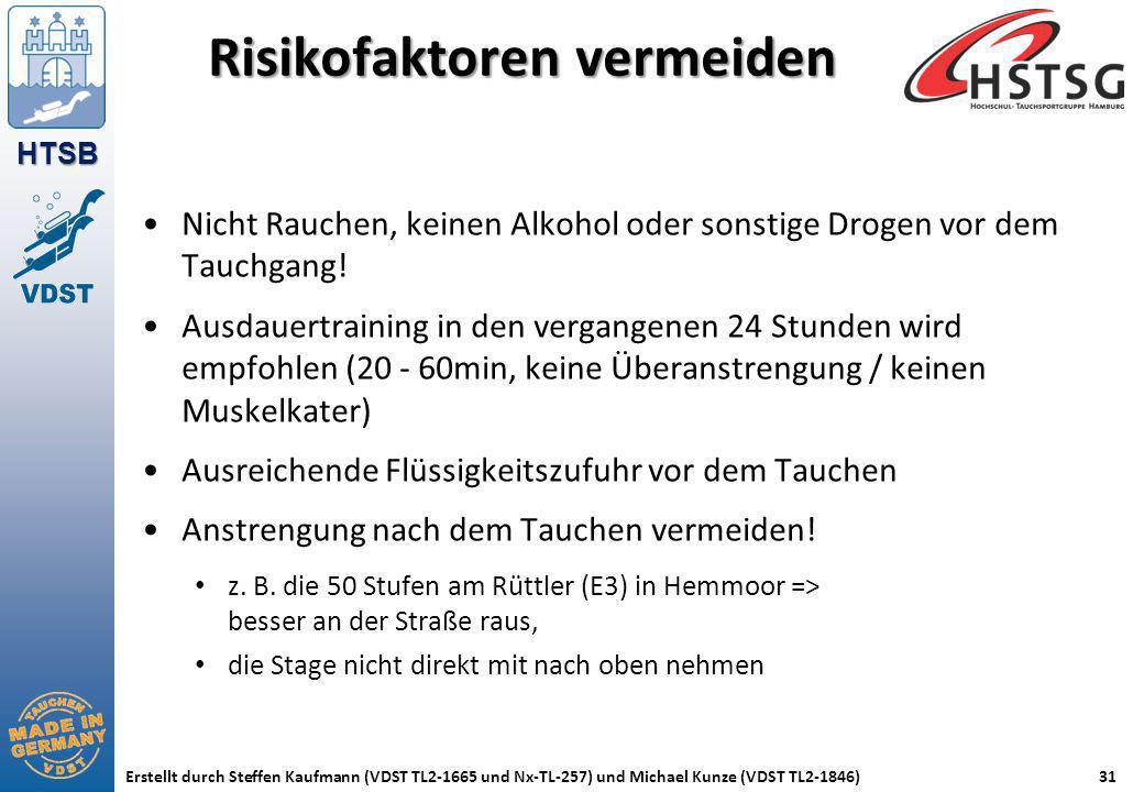 HTSB Erstellt durch Steffen Kaufmann (VDST TL2-1665 und Nx-TL-257) und Michael Kunze (VDST TL2-1846)31 Risikofaktoren vermeiden Nicht Rauchen, keinen
