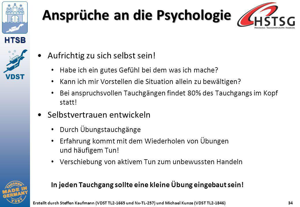 HTSB Erstellt durch Steffen Kaufmann (VDST TL2-1665 und Nx-TL-257) und Michael Kunze (VDST TL2-1846)34 Ansprüche an die Psychologie Aufrichtig zu sich