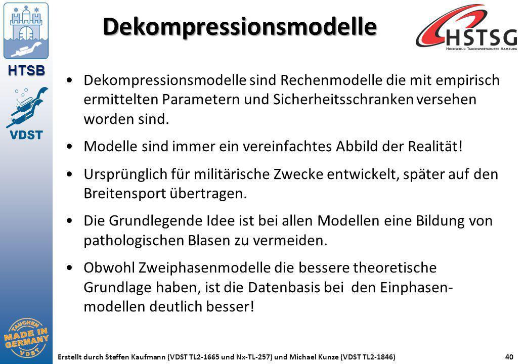 HTSB Erstellt durch Steffen Kaufmann (VDST TL2-1665 und Nx-TL-257) und Michael Kunze (VDST TL2-1846)40 Dekompressionsmodelle Dekompressionsmodelle sin