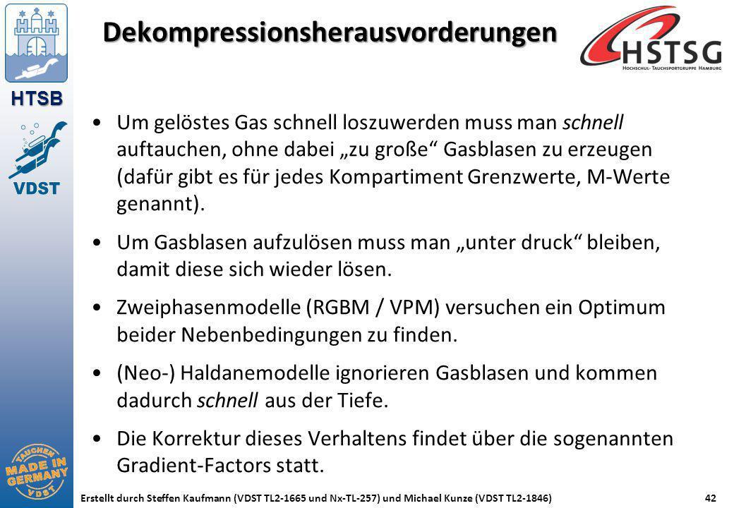 HTSB Erstellt durch Steffen Kaufmann (VDST TL2-1665 und Nx-TL-257) und Michael Kunze (VDST TL2-1846)42 Dekompressionsherausvorderungen Um gelöstes Gas