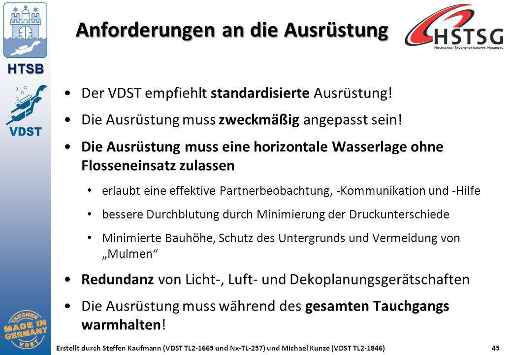 HTSB Erstellt durch Steffen Kaufmann (VDST TL2-1665 und Nx-TL-257) und Michael Kunze (VDST TL2-1846)45 Anforderungen an die Ausrüstung Der VDST empfie
