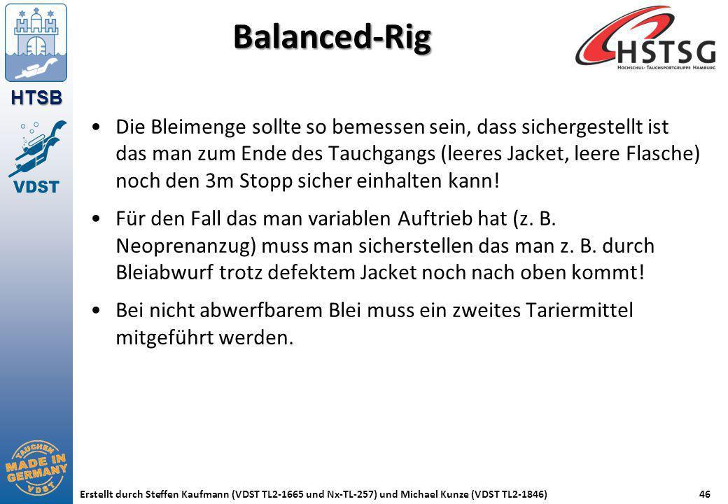 HTSB Erstellt durch Steffen Kaufmann (VDST TL2-1665 und Nx-TL-257) und Michael Kunze (VDST TL2-1846)46 Balanced-Rig Die Bleimenge sollte so bemessen s