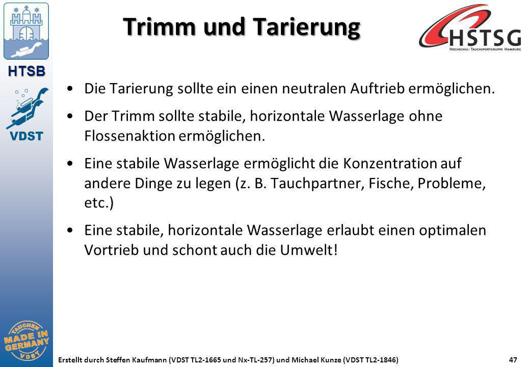 HTSB Erstellt durch Steffen Kaufmann (VDST TL2-1665 und Nx-TL-257) und Michael Kunze (VDST TL2-1846)47 Trimm und Tarierung Die Tarierung sollte ein ei