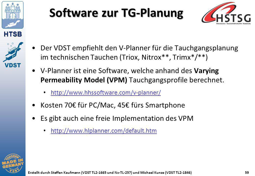 HTSB Erstellt durch Steffen Kaufmann (VDST TL2-1665 und Nx-TL-257) und Michael Kunze (VDST TL2-1846)59 Software zur TG-Planung Der VDST empfiehlt den