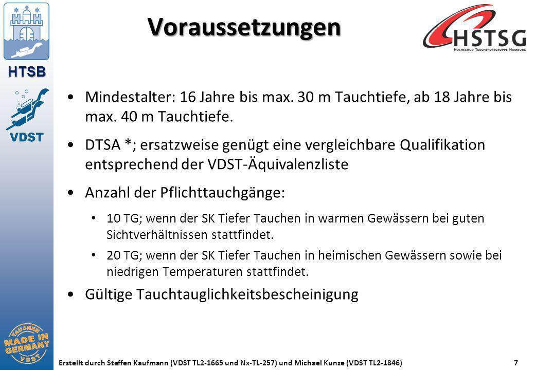 HTSB Erstellt durch Steffen Kaufmann (VDST TL2-1665 und Nx-TL-257) und Michael Kunze (VDST TL2-1846)7 Voraussetzungen Mindestalter: 16 Jahre bis max.