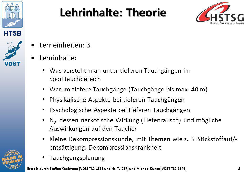 HTSB Erstellt durch Steffen Kaufmann (VDST TL2-1665 und Nx-TL-257) und Michael Kunze (VDST TL2-1846)8 Lehrinhalte: Theorie Lerneinheiten: 3 Lehrinhalt