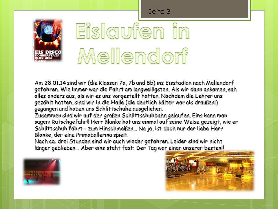 Seite 3 Am 28.01.14 sind wir (die Klassen 7a, 7b und 8b) ins Eisstadion nach Mellendorf gefahren. Wie immer war die Fahrt am langweiligsten. Als wir d