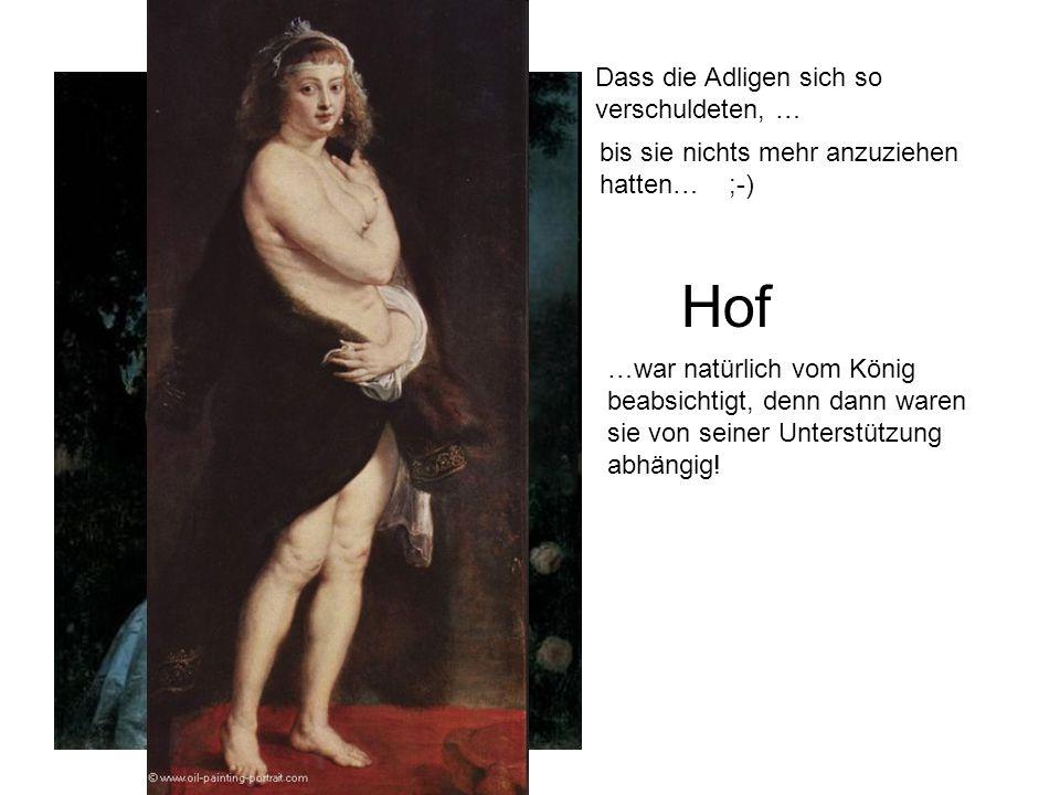 Hof Der Adel diente nur zur Unterhaltung des Königs: Man kleidete sich kostbar, spielte, flirtete, ging ins Theater und in die Oper. Dass die Adligen