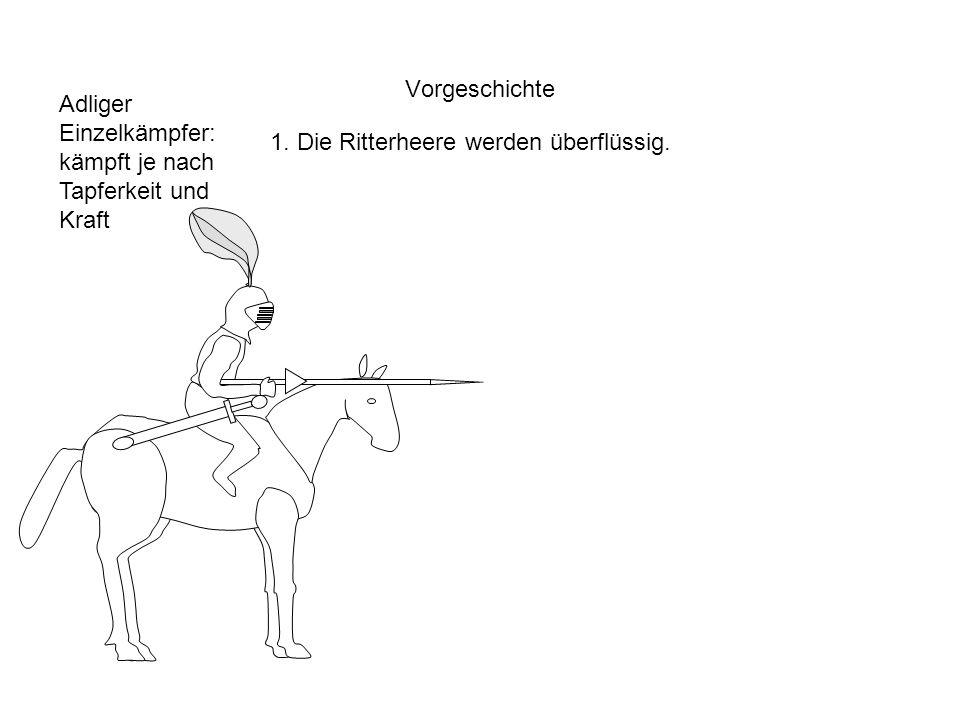 Vorgeschichte 1. Die Ritterheere werden überflüssig. Adliger Einzelkämpfer: kämpft je nach Tapferkeit und Kraft