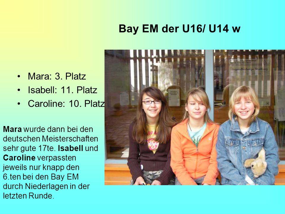 Bay EM der U16/ U14 w Mara: 3. Platz Isabell: 11. Platz Caroline: 10. Platz Mara wurde dann bei den deutschen Meisterschaften sehr gute 17te. Isabell