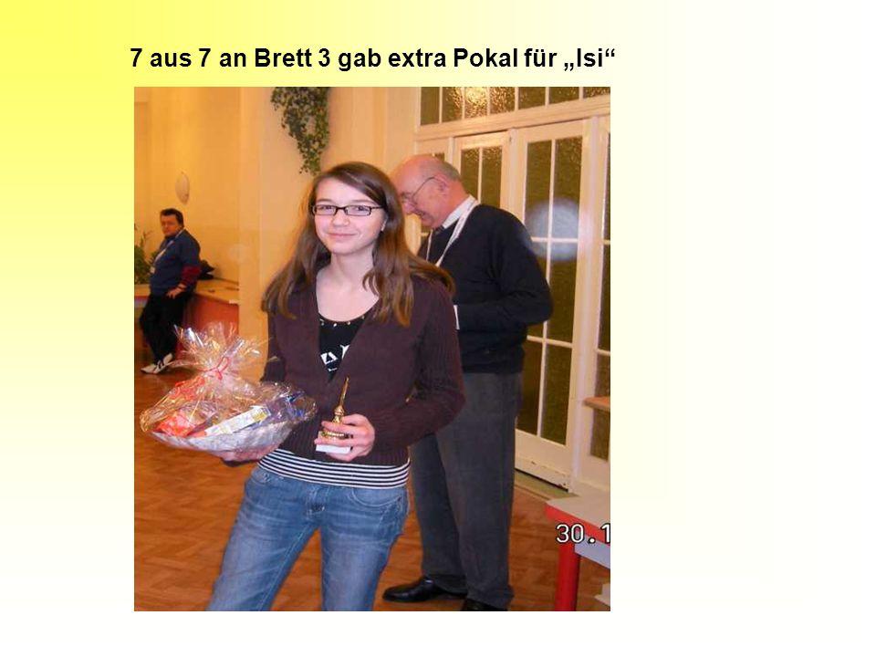 "7 aus 7 an Brett 3 gab extra Pokal für ""Isi"""