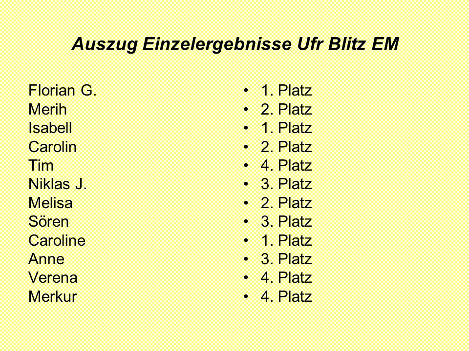 Auszug Einzelergebnisse Ufr Blitz EM Florian G. Merih Isabell Carolin Tim Niklas J.