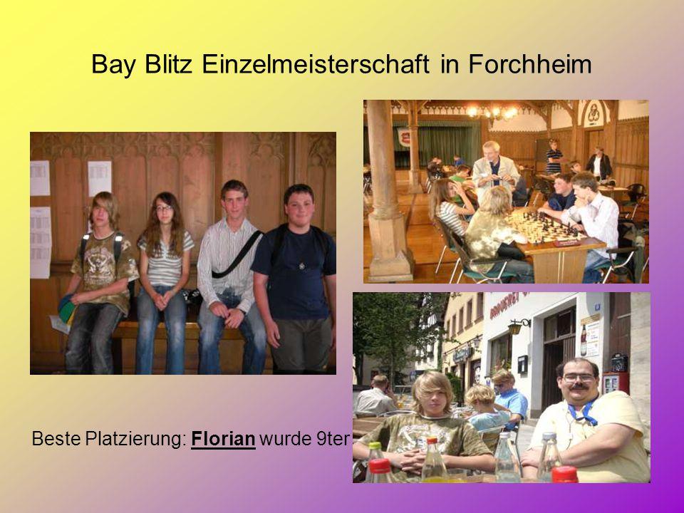 Bay Blitz Einzelmeisterschaft in Forchheim Beste Platzierung: Florian wurde 9ter