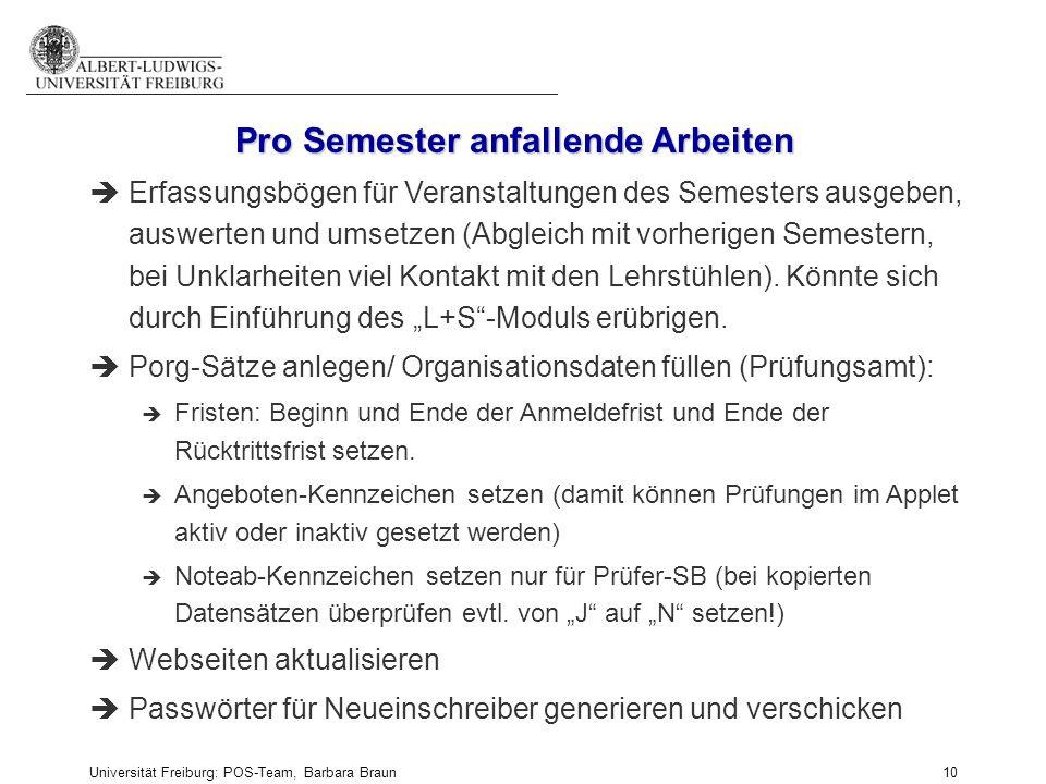 Universität Freiburg: POS-Team, Barbara Braun und Prüfungsamt der Fak. f. Angew. Wiss., Martina Sexauer 10 èErfassungsbögen für Veranstaltungen des Se